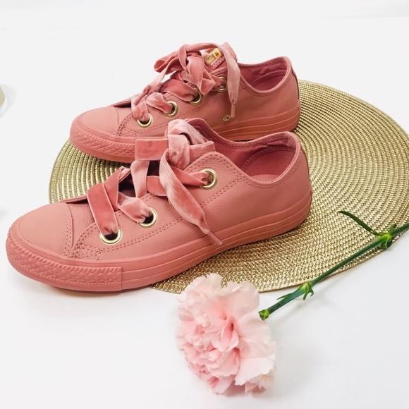 Pink Leather Converse Velvet Laces